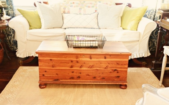 I have a cedar chest exactly like this.  I'd just need to put feet on it.  Would it work in the TV room?