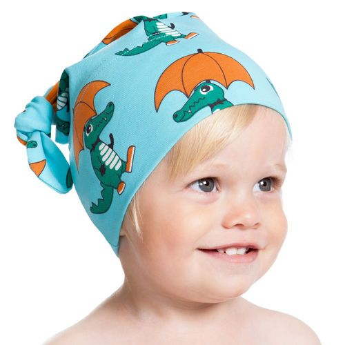 NOSH Knot Hat Croco, Turquoise. Certified organic cotton
