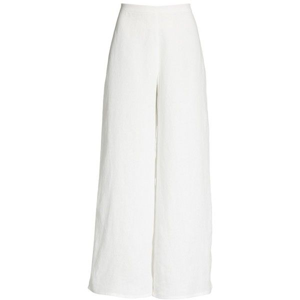 Women's Simon Miller Aliso Wide Leg Pants ($290) ❤ liked on Polyvore featuring pants, white, white pants, linen trousers, linen pants, white linen pants and white linen trousers