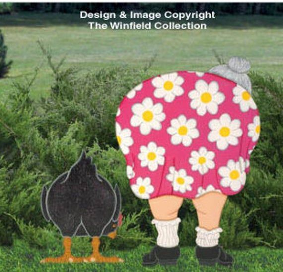 Backside Lady And Her Chicken Wood Outdoor Yard Art Sign Lady Bending Over Gardening And Her Chieck Metal Y In 2020 Wood Craft Patterns Wood Crafts Christmas Yard Art