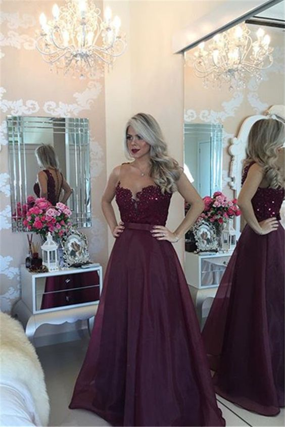 Charming Burgundy Prom Dresses, Prom Dresses Long, Open Back Evening Dresses, Long Burgundy Evening Gowns