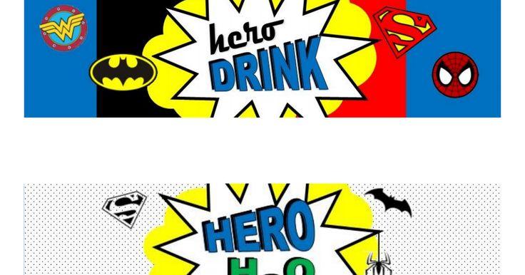 Superhero Comic Book Free Printable Water Bottle Labels.pdf