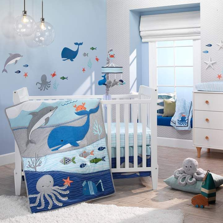 Blue Ocean Underwater Theme Lambs /& Ivy Oceania 4-Piece Crib Bumper