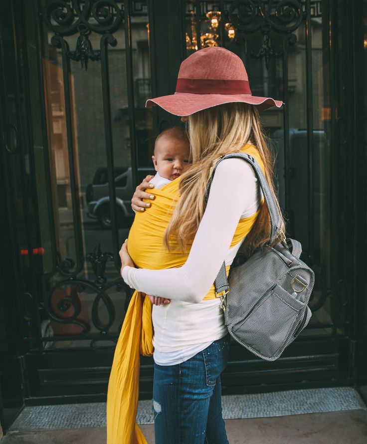 TOP: Trouve via Nordstrom // JEANS: Current/Elliott (not currently available but love these similar ones)// FLATS: Yosi Samra // DIAPER BAG: Nordstrom // WRAP: Solly Wrap // LIPSTICK: MAC 'Fanfare' // HAT: Zara; similar here, here, and here I wore this...
