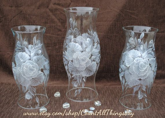 Hurricane glass shades with white rose handpainted