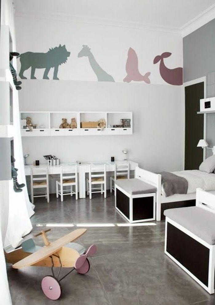 stickers muraux en forme d'animal, décoration originale dans la chambre bébé