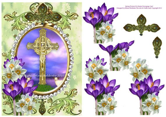 Spring Flowers For Easter or Sympathy Decoupage Card Topper designed by Elaine Sheldrake at DigitalHeaven, £0.80