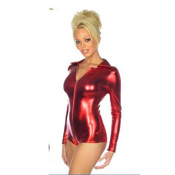 Red/Black Shiny Metallic Bodysuit Costume PVC Faux Leather Sexy Nurse Uniform Costume Cosplay Lingerie Sexy Teddy Costume E8937