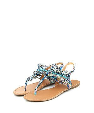 Blue Printed T-Bar Sandals  | New Look