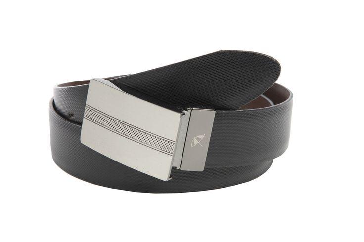 Reversible Textured Leather Strap Belt with a Nickel Texture Pattern Twist Plaque Buckle - $55.00 - Arnie™ Belts