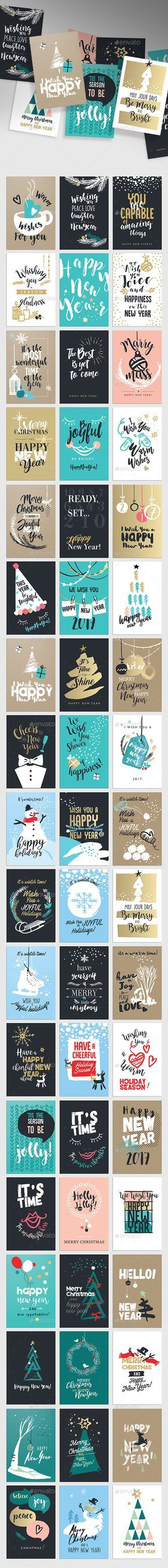 Christmas and New Year's Greeting Cards — Photoshop PSD #set #illustration • Download ➝ https://graphicriver.net/item/christmas-and-new-years-greeting-cards/19167531?ref=pxcr