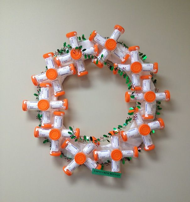 Wreath Made Of Pee Jars. I bet pill bottles would work well too   =)