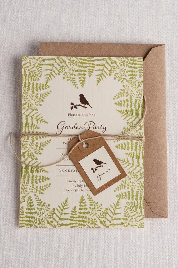 Garden Party/Wedding Invitations, ferns, Vintage wedding, 5x7, Kraft, birds, English, traditional, modern