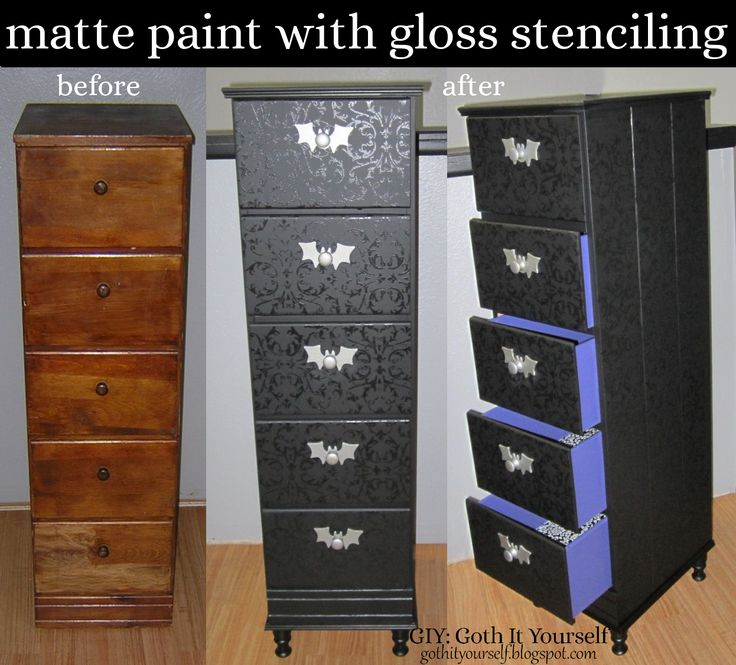 GIY: Goth It Yourself: Black Matte with Gloss Stenciling on Chest of Drawers