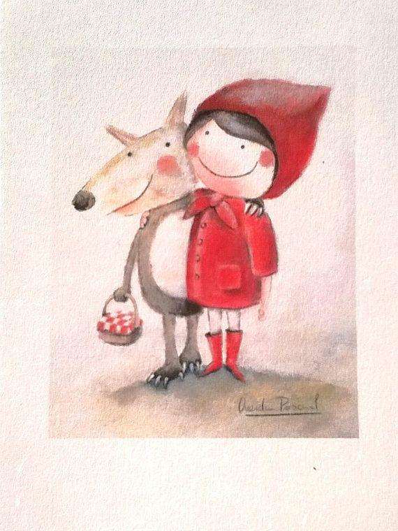 Lamina Caperucita Roja y el lobo son amigos¡¡¡. Impresión digital en papel grueso. Decoración habitación niños