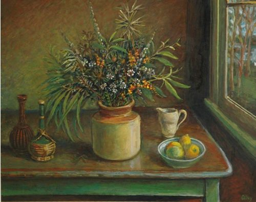 Margaret Olley   Still Life with Green Leaves circa 1990 oil on board, 75 x 100 cm