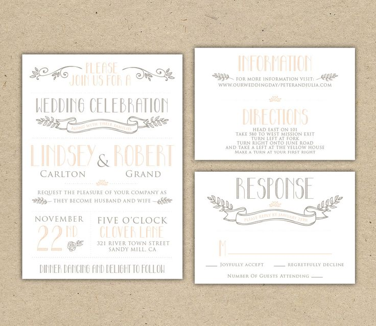 Vintage Wedding Invitation And RSVP  Customize With Your Colors, Diy.  SAMPLE (1007