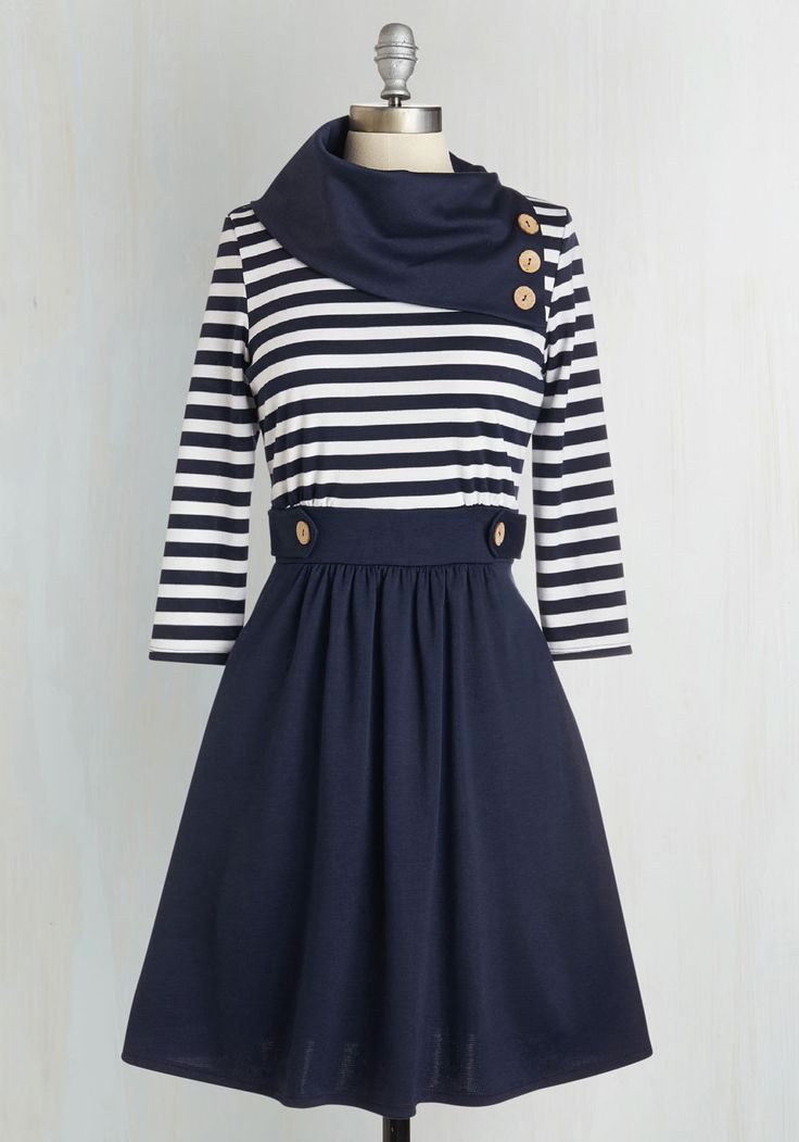 Coach Tour A-Line Dress in Stripes - 3/4 Sleeves, @ModCloth