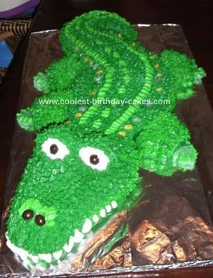 Homemade Gator Birthday Cake: This Gator Birthday Cake was not as difficult as I thought it would be considering I haven't baked a cake in over 30 years. It was easy since the night