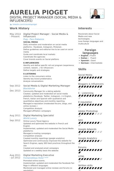 107 best CV images on Pinterest Resume design, Design resume and - videographer resume