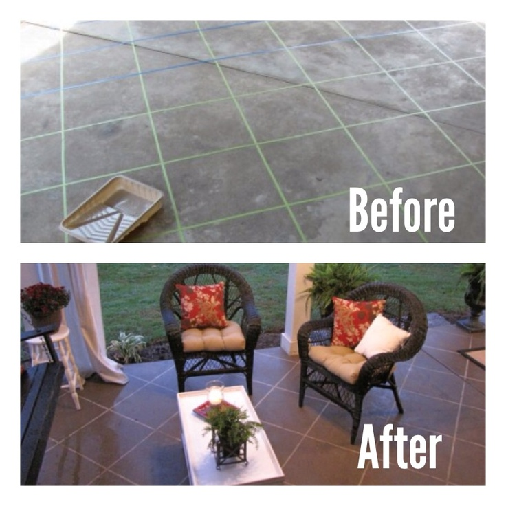 Step 1.) Tape a regular boring patio to look like tile.  Step 2.) Use a paint roller with a long handle to paint the entire area with a cement stain in whatever color you choose.  Step 3.) you can choose to use another layer of a cement gloss if you want a more finished look.  Step 4.) Remove the tape and enjoy your new sophisticated patio!  So cool and easy! Only about $20-$30 for all the materials and it makes a huge difference.