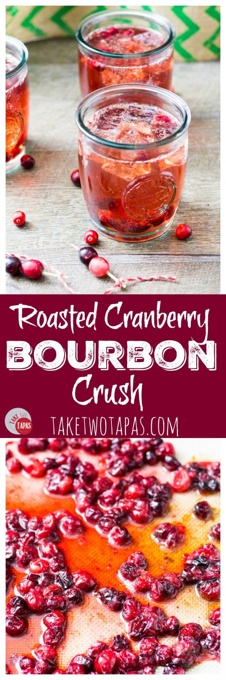Roasted cranberries pair nicely with tart cranberry juice, caramel hinted bourbon, and bubbly lemon-lime soda. Perfect a large batch of punch! Roasted Cranberry Bourbon Crush Recipe | Take Two Tapas