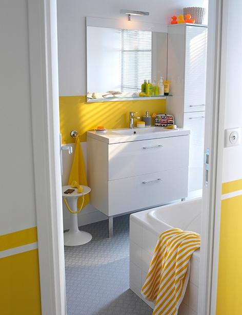 Salle de bain jaune et blanc COOKEandLEWIS Mica www.castorama.fr