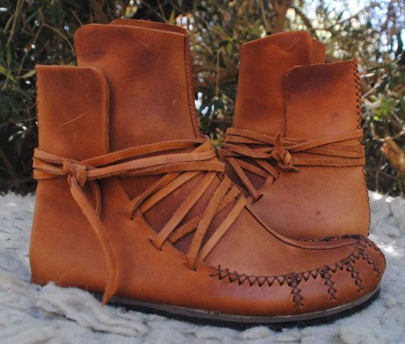 Womens Moccasin wrap ankle boots soft spanish leather by BeniBoots