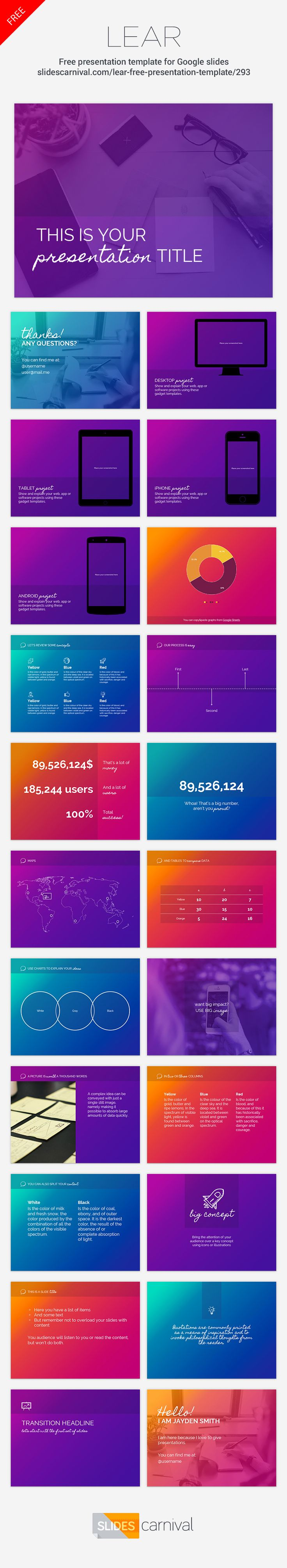 With a bold color palette and out of the box design this free template is perfect for non-corporate presentations. The slides backgrounds won't easily adapt to any brand, but on the other hand your audience will remember your speech for sure.  Use this template to talk about creativity, innovation or sports.
