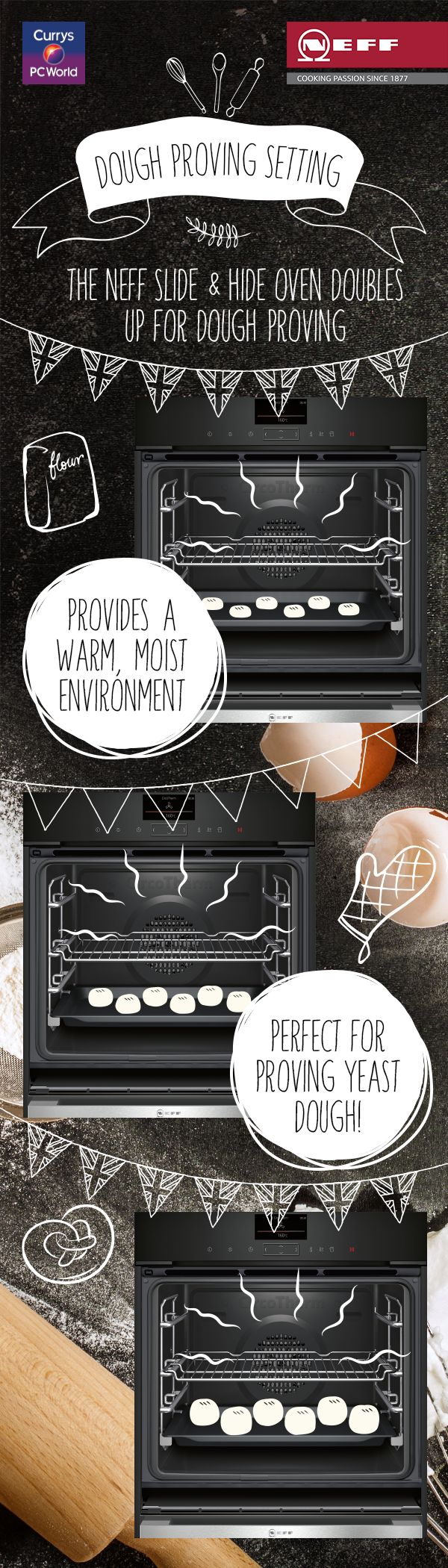 The Neff Slide & Hide oven comes with a handy dough proving funtion; providing a warm, moist environment for prepping the perfectly risen loaf! @biybyneff
