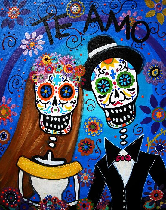 Dia de los Muertos Wedding by prisarts theme, ideas, gift, te amo, day of the dead, cool painting