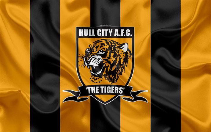 Download wallpapers Hull City FC, Silk Flag, Emblem, Logo, 4K, Kingston upon Hull, East Riding of Yorkshire, England, UK, English Football Club, Football League Championship, Second League, Football