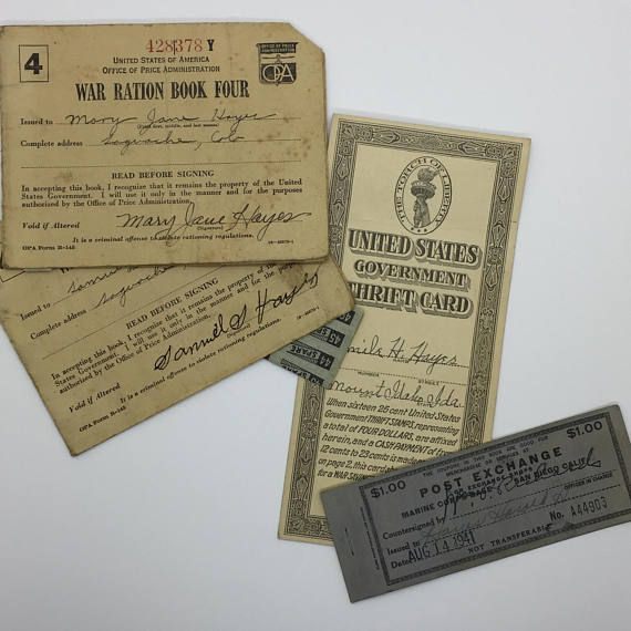 WWI & WWII era US War Ration Stamp Books, Stamps, Government Thrift Card +