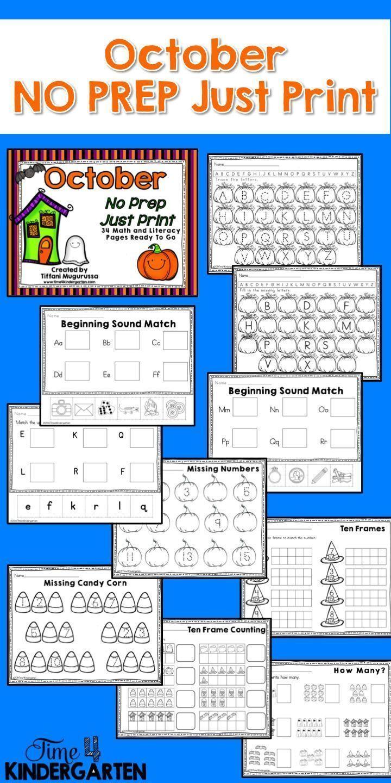 October No Prep Just Print Math And Literacy For Kindergarten Literacy Activities Kindergarten Teaching Kindergarten Sight Words Math Centers Kindergarten [ 1440 x 720 Pixel ]