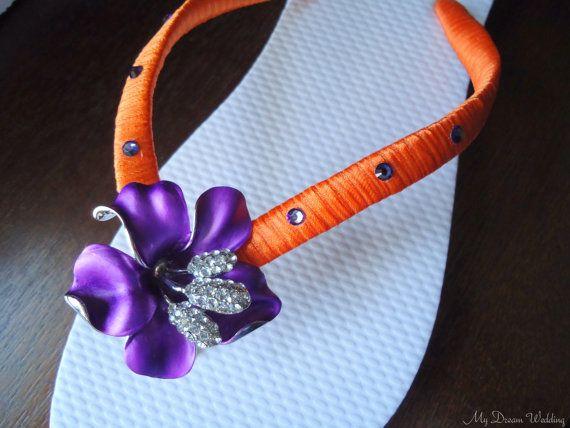 Purple Flip flops. Bridal Orange purple flip by MyDreamWedding, $45.00
