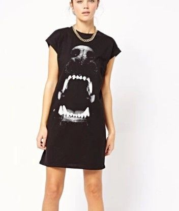 QZ877 New Fashion Ladies' elegant dog head print black Dress O-neck short sleeve dress casual slim brand designer