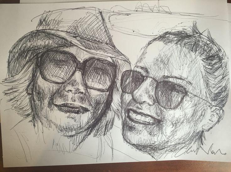 Me and lovely aunt Nietta  my black pen drawings - Chiara Nardo