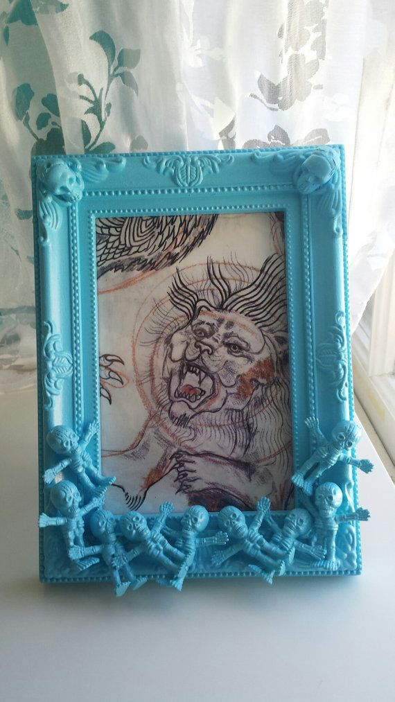 Blue skeleton picture frame by CheeseCrafty on Etsy