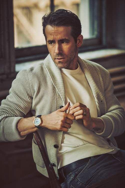 7a2134f258 Ryan Reynolds with a classic fall look featuring a cream shawl cardigan  white t shirt denim and watch  celebrity  celebrities  ryanreynoldsstyle ...