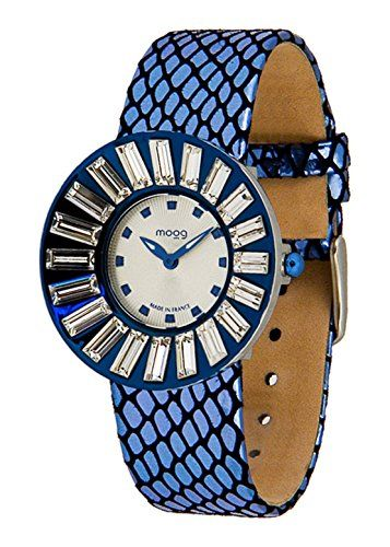 Moog ParisSunshine M45342-009 Damen-Armbanduhr, weißes Zifferblatt, blaues Armband aus Rindsleder, hergestellt in Frankreich - http://uhr.haus/moog-paris/moog-paris-sunshine-damen-armbanduhr-weiss-blau