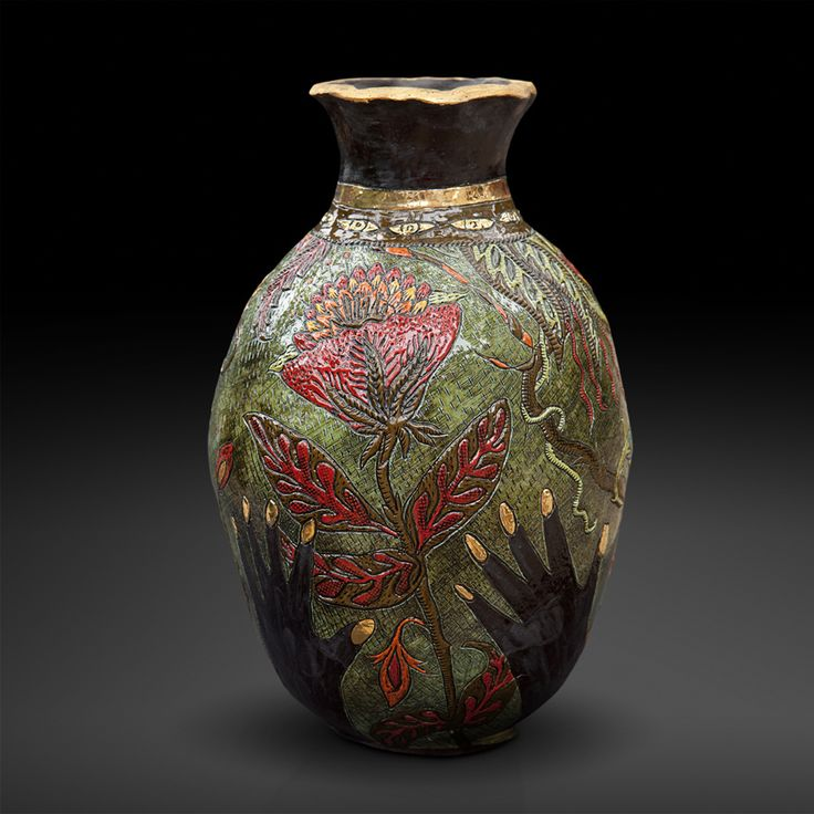 An original vase by Lucinda Mudge entitled: Take What You Want, ceramic / gold luster, h 38cm For more please visit www.finearts.co.za