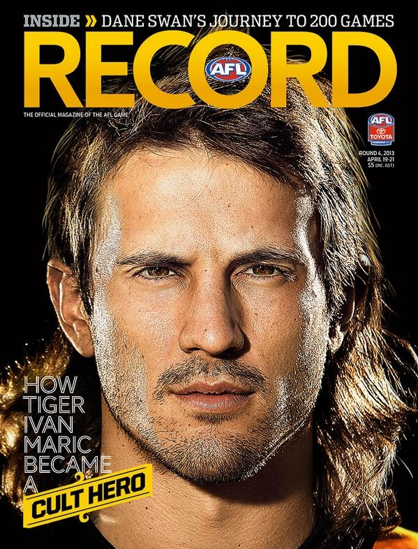 Sweet mullet. Ruckman. AFL Record (AFLrecord) on Twitter with Ivan Maric of Richmond FC on cover.