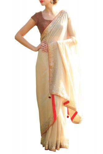 Nidhika Shekhar Cream Sari - Clothing