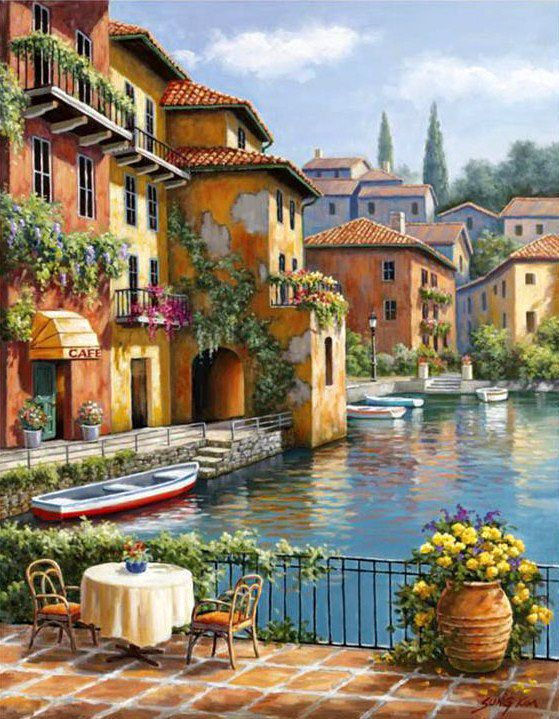 Cafe at the Canal - Counted cross stitch pattern in PDF format