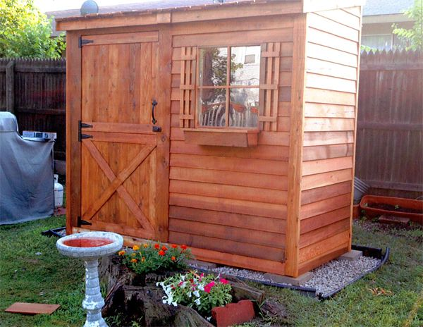 100% Western Cedar Bayside Shed. Beautifully Stained In Natural Finish.  Cedarshed.com