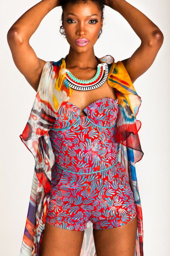 Multi-colour playsuit and chiffon wrap by Anya Ayoung Chee