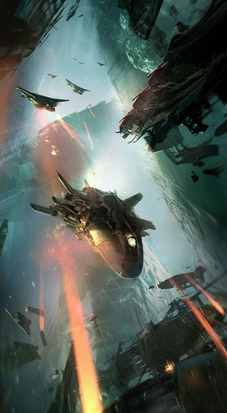 space battle skyscape / sci fi / otherworldly