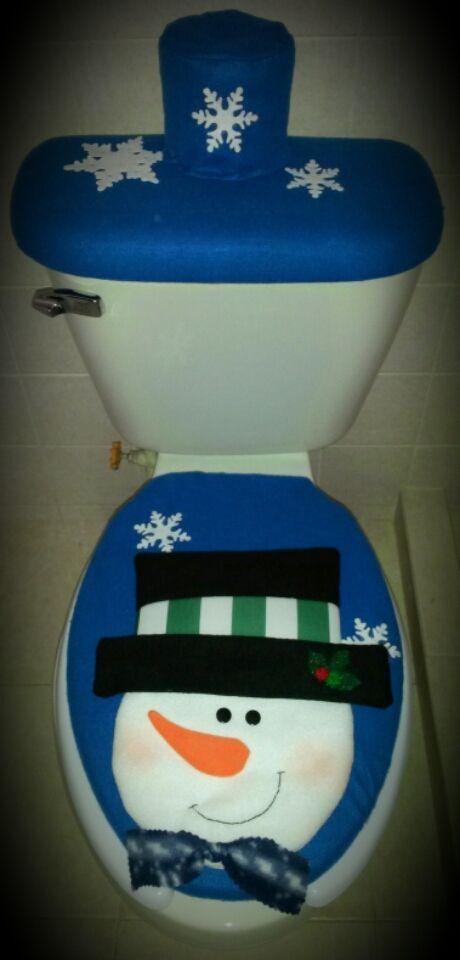 Juego De Baño Navideno Azul:Juego de baño azul muñeco de nieve