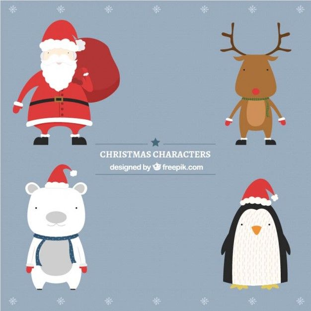 Cute christmas characters I Free Vector