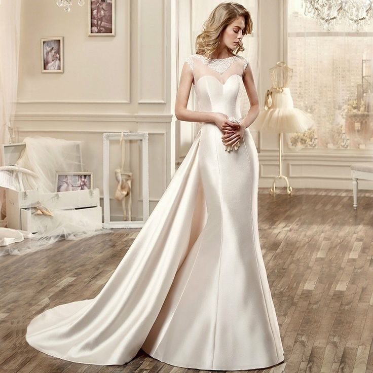 Barato Vnaix WV615 manga O pescoço de cetim sereia vestidos de casamento com trem destacável 2015 vestido de noiva, Compro Qualidade Vestidos de noiva diretamente de fornecedores da China: Bem-vindo ao Vnaix Bridals